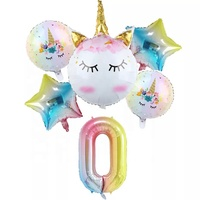 Birthday Party Supplies,Baby Shower Decorations,Unicorn Rainbow Number Balloon Set