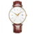 Simple design  40mm 316L Stainless steel wristwatch case brown genuine leather  strap automatic minimalist watch
