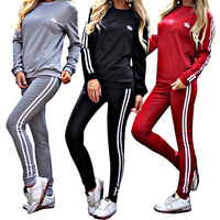 Winter Females Sweatshirt Top And Long Pants Casual Black Two Piece Sport Set