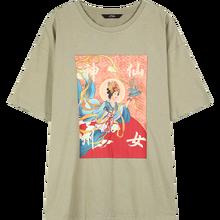 ELFSACK женская футболка с коротким рукавом, лето 2020, Оригинальный графический принт, зеленый(China)