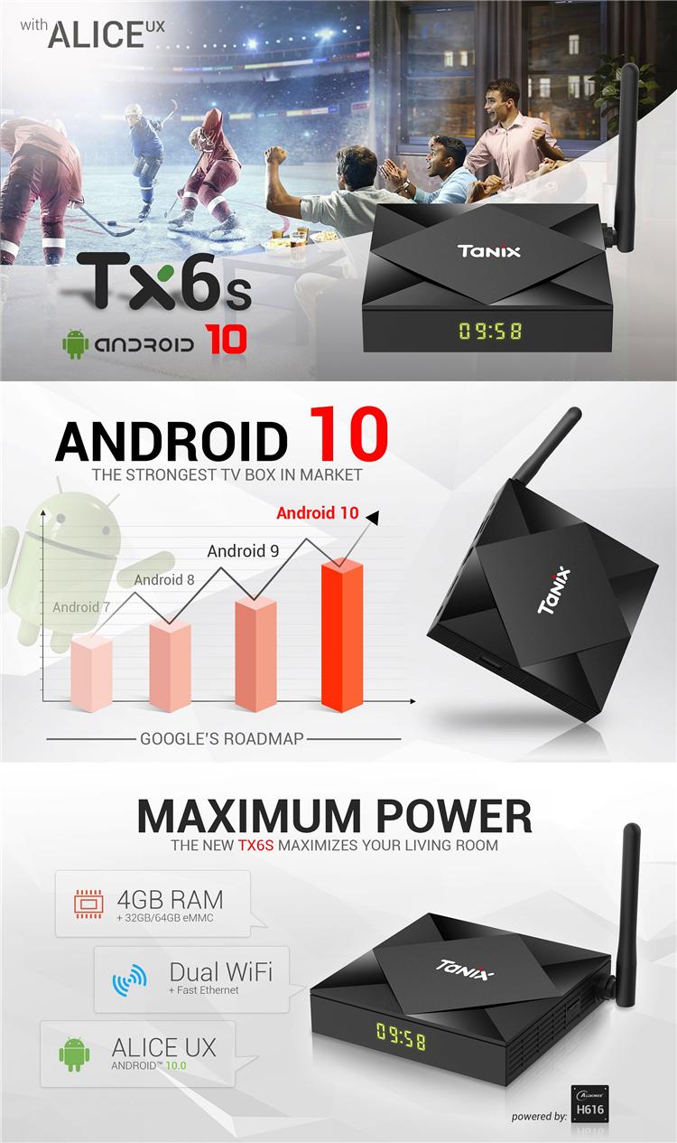 Pendoo factory direct supply TX6S 4k 2gb 16gb Allwinner H616 OTA upgrade 8k smart android 10.0 tv box