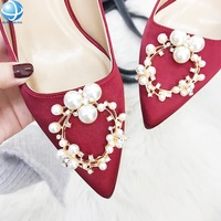 Factory Oval Pearl Rhinestone Shoe clips for Wedding Shoes