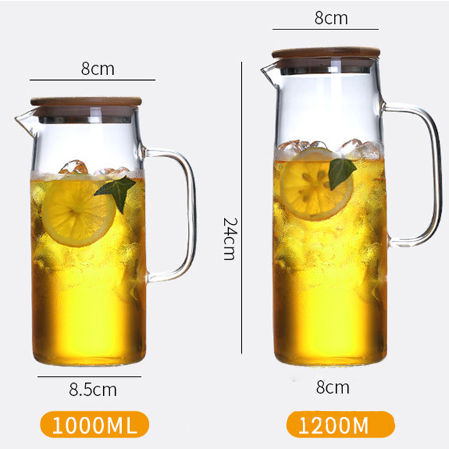 Cold glass water bottle with Bamboo cover large capacity water bottle glass water bottle high temperature cup