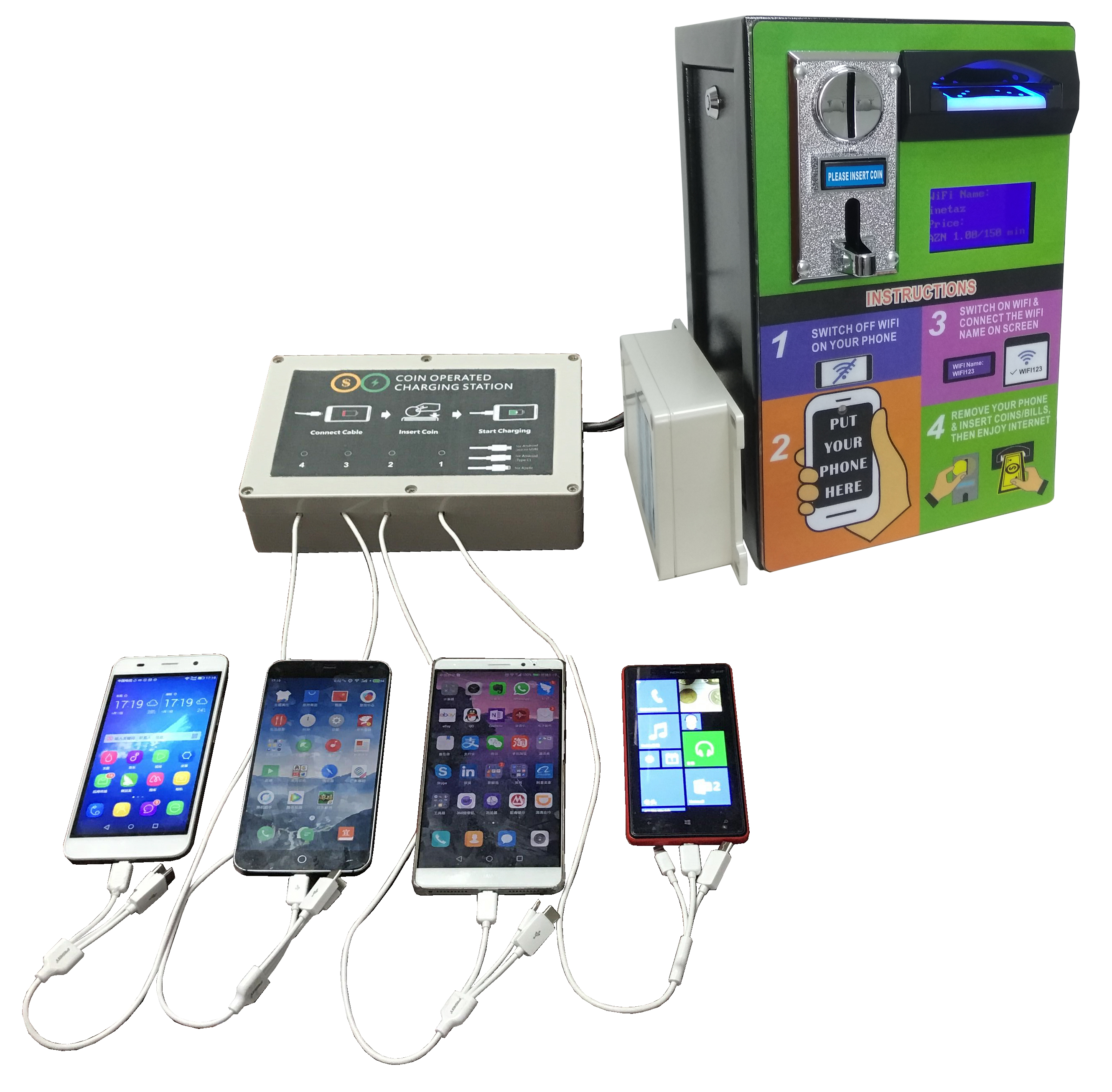 2019 Innovative Product Ideas Wall Mounted 4G Coin Banknote Operated Payment Vending Machine