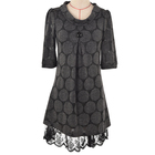 Casual style roll neck short sleeve polyester lady lace tunic top woman