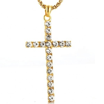 Yiwu Aceon Stainless Steel Fashion Women Religious Jewelry Gold Plated Stone Paved Cross Pendant