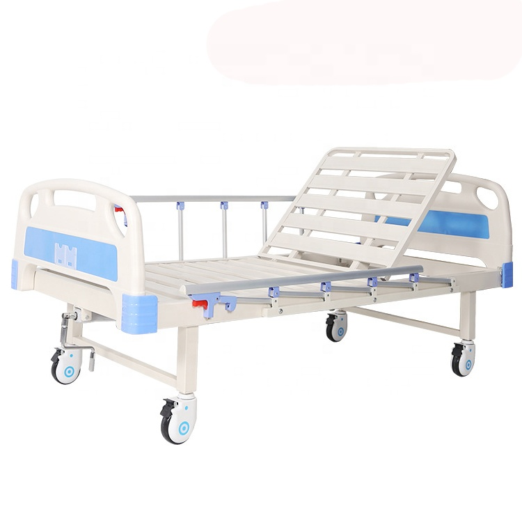 Manufacturer wholesale high quality cheap manual single 1 crank medical bed one function nursing bed patient home hospital bed