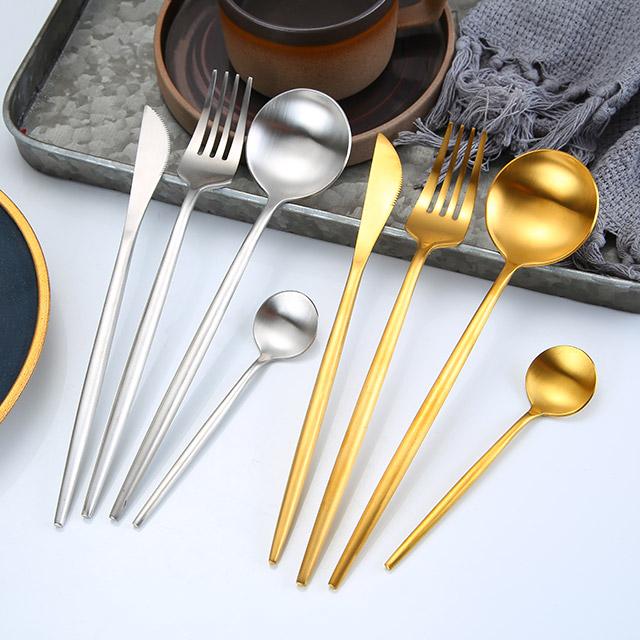 FDA набор столовых приборов из нержавеющей стали золотые ложки вилки и ножи для событий