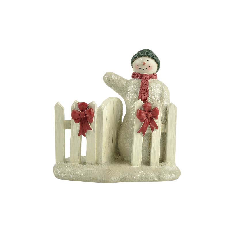 Resin Snowman And Fence Figurine Snow Scene Winter Crafts For Christmas Decoration
