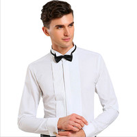 High Quality Men Solid Color Cotton Tuxedo Shirt Wedding Men White Slim Fit Long Sleeve Dress Shirt