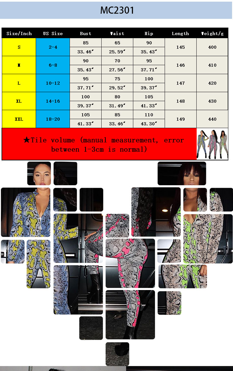 MC2301 European new fashion women snake skin wild women tight long pants jumpsuit