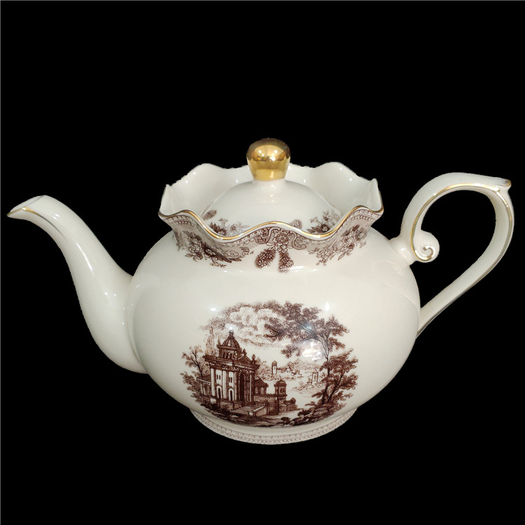 Wholesale Teapot1L Top Quality Russian style new bone china <strong>Tea</strong> Pot