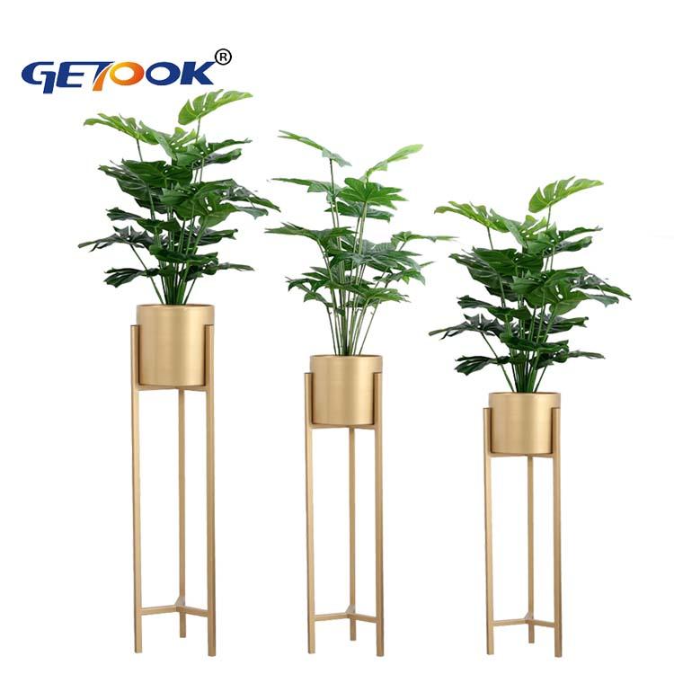 Современный домашний декор металлический комнатный цветочный горшок держатель напольная подставка для растений