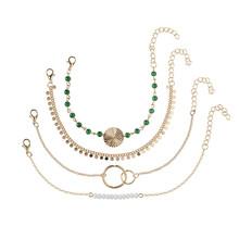 Женский многослойный браслет из сплава Богемия с золотыми бусинами и блестками, ювелирное изделие, цепочка для ног, аксессуары, подарок(Китай)