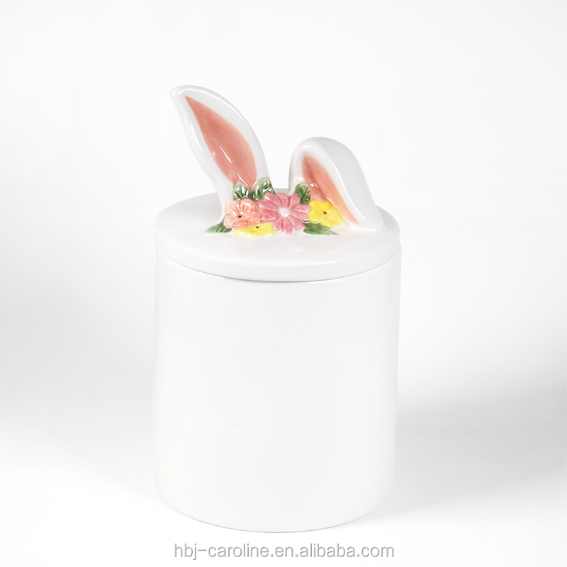 Wholesale Ceramic Canister Candy Jar 3D Easter Bunny Pink Ear lid Storage