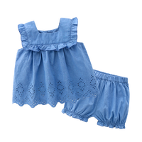 Wholesale new born baby clothes sets denim tops and shorts denim clothes smocked baby set