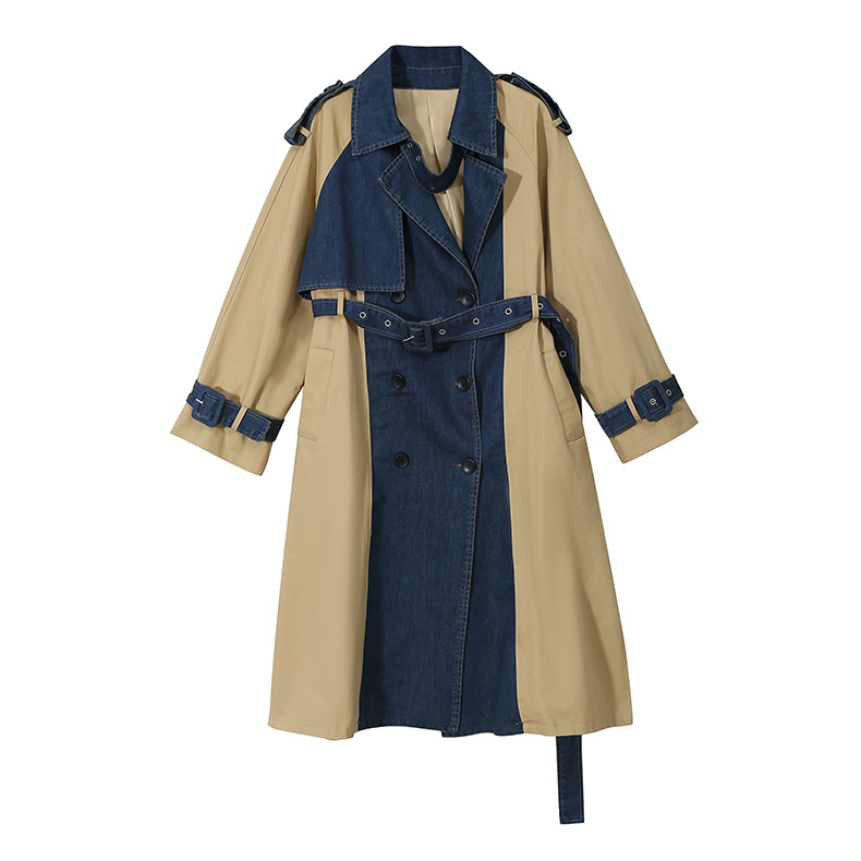 2020 New Adjustable Waist belt fashion stitching Splice denim Fabric khaki trench coat women plus size