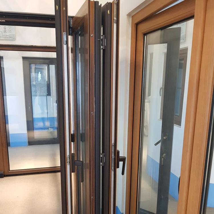 Powder coat aluminum casting glass wood bi folding sliding door price