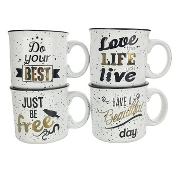 Camp Mug Glass Mugs Cups with Carton Pattern High Quality with Logo Printing Milk Coffee Tea Ceramic Enamel Cup
