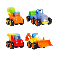 Huile Car Toy Push and Go Friction Powered Construction Vehicles Set, Children's Day Gifts Tractor Bulldozer Mixer Truck Dumper