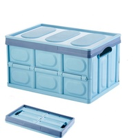 Multifunctional Durable Stackable Plastic Trunk Organizer Foldable Household Finishing Box with Handle