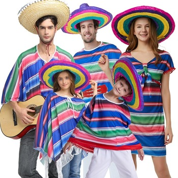 Women Girl Mexican Bandit Costume Mexico Fancy Poncho Sombrero Dress Gringo Outfit Kids QBC-2243