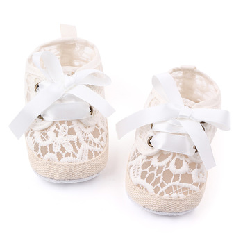 Satin Lace Border Butterfly-knot Newborn Baby Baptism Christening Shoes Pure Color Lace Bowknot Newborn Baby Shoes Wholesale