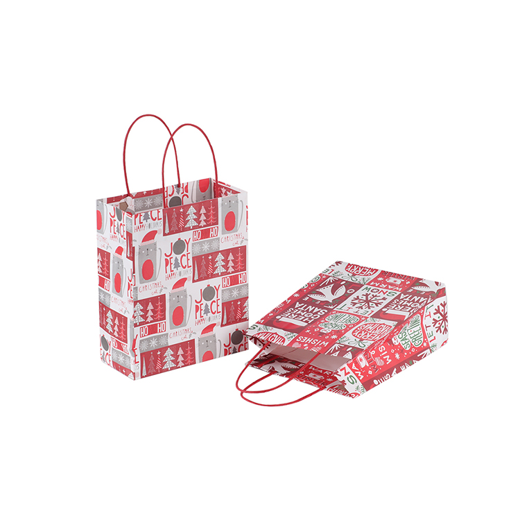 Custom printing christmas lovely glossy paper gift bag