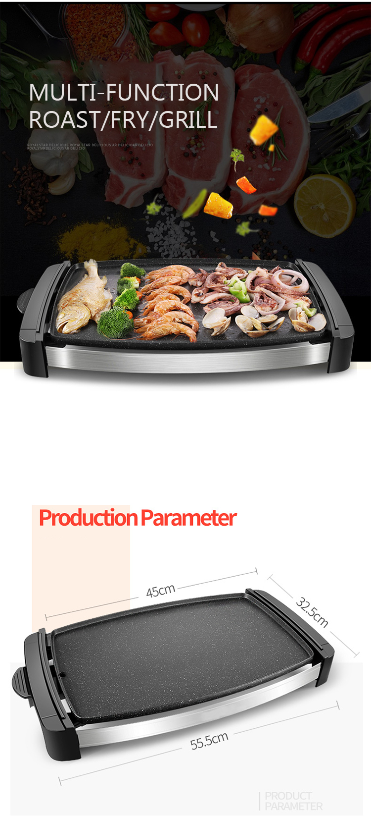 Indoor Non Stick Smokeless Electric Grill Pan