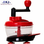 Red Food Processor, Manual Hand-Powered Crank Large Chopper Mincer Blender Mixer Cutter with Transparent Container for Baby Kid