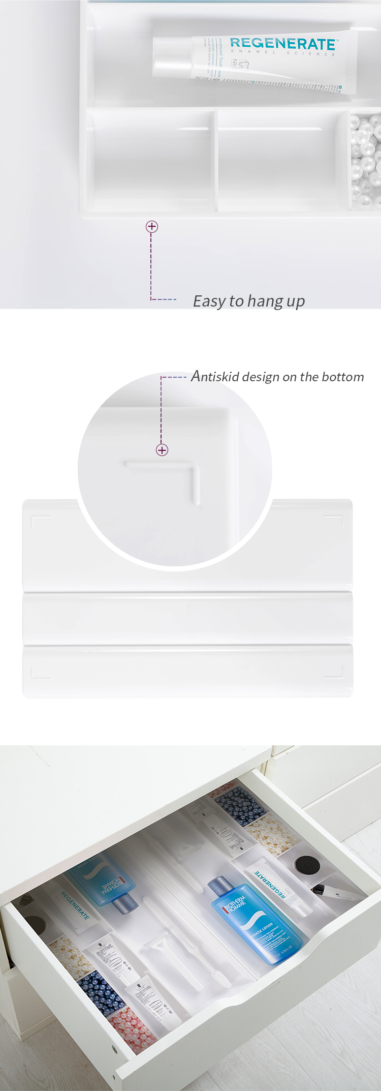 office and home desk plastic Desktop divider plastic tray  dividers  with  office desk  drawer Organizer