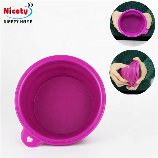 Food grade portable folding rubber pet feeding <strong>bowls</strong> colorful travel silicone collapsible <strong>dog</strong> <strong>bowl</strong>