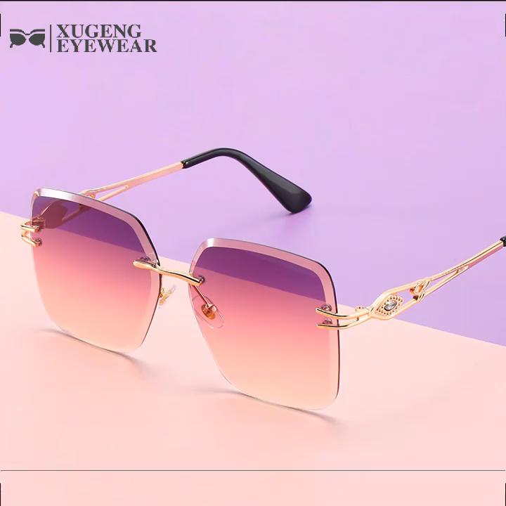 2020 gafas de sol de lujo sin montura para mujer gafas de sol con diamantes brillantes
