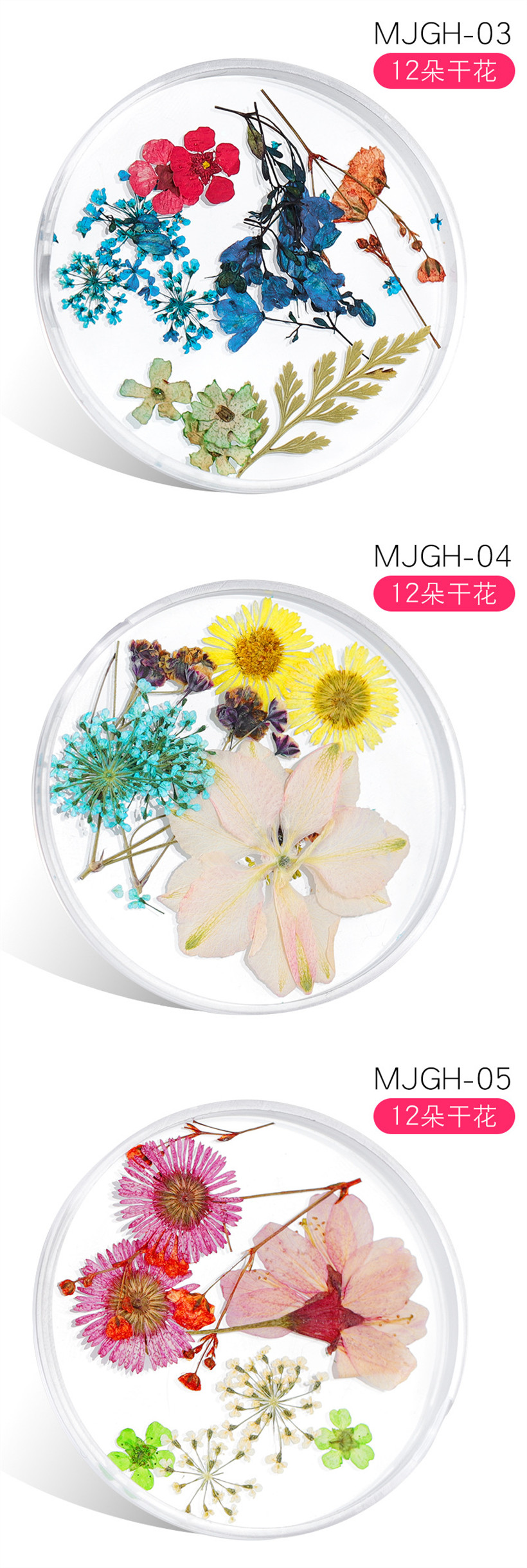 New Design Japanese Style Natural Dried Flower Stickers for Nail Decoration