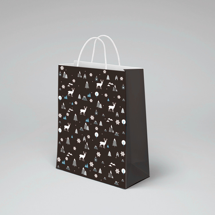 product-Dezheng-2020 new product dark black custom printed on glossy paper small black paper bag gif-2