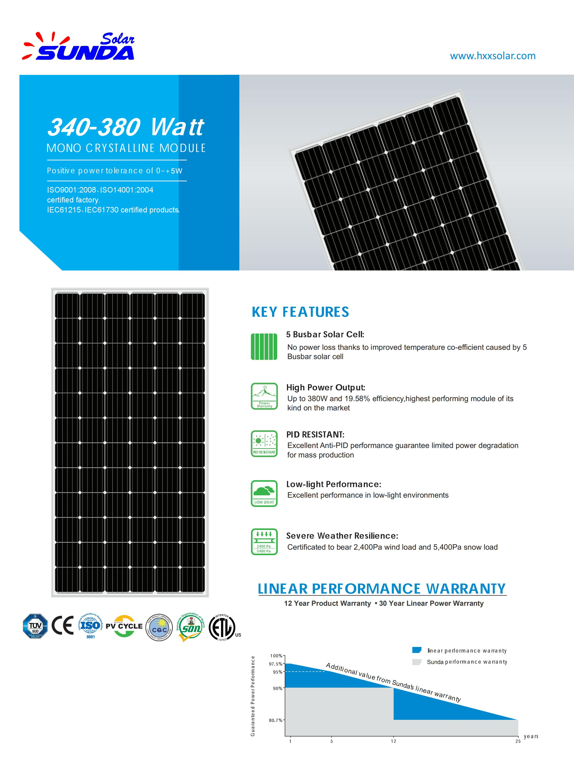 Sunda 2019 mejor venta mono panel solar de 340 vatios