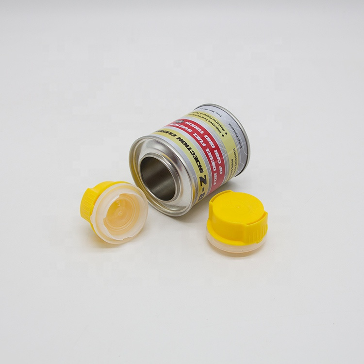 china supply 100ml round metal tin cans with spray cap plastic funnel