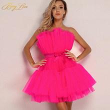 Короткое фатиновое коктейльное платье BeryLove, атласное мини-платье без бретелек с поясом, модель 2020(Китай)