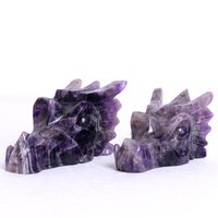 Natural Amethyst Crystal Skull Carved Dragon Head for Decoration