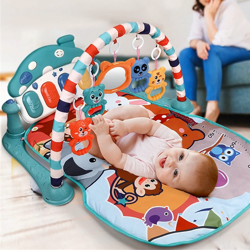 Musical Early Education Toy Ring Bell Mat Activity Gym Mat For Baby