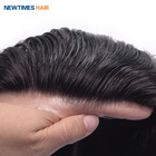 HS1 newtimeshair stock super thin skin pu men human hair toupee patch hair replacement systems for men