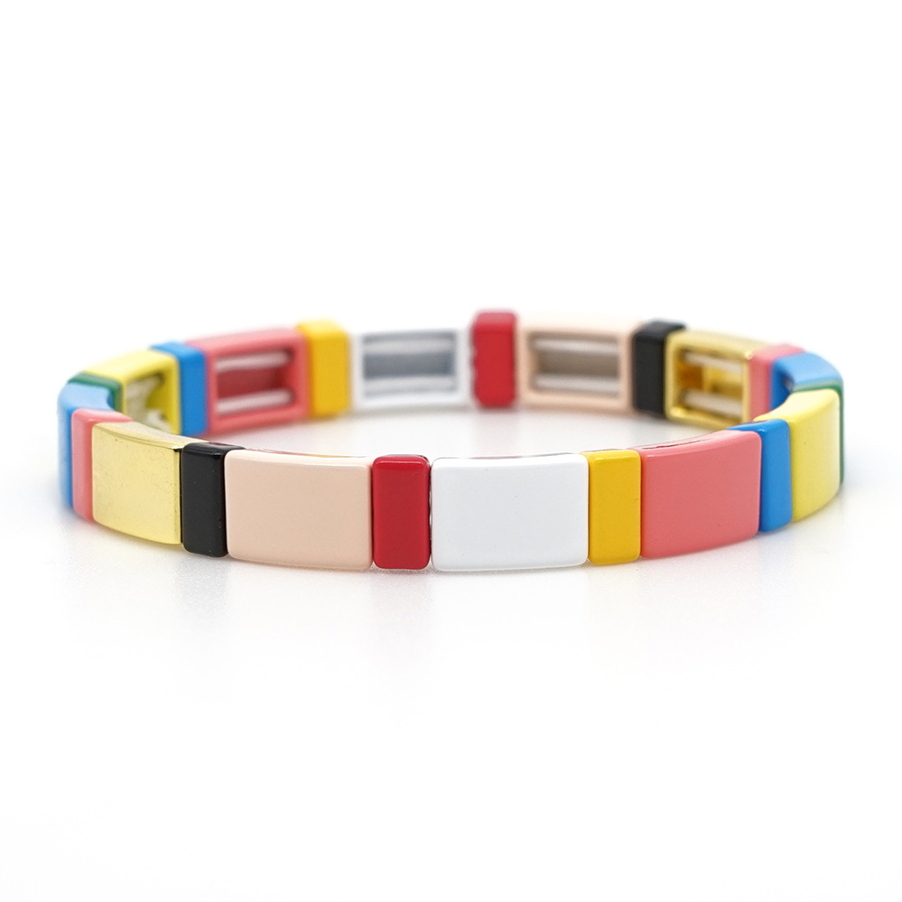 Hot Saling Bohemia Alloy Stoving Varnish Bead Bracelet Handmade Rainbow Color Tile Beads Square Shaped Bracelet For Women