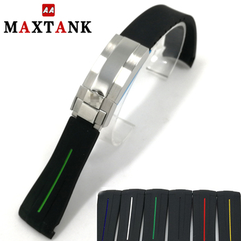 high quality curve end silicone 20mm watch band strap