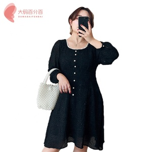 Autumn Women Casual Long Sleeve Slim Ladies Fashion Botton Maxi plus size Long Dress with pearl button