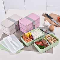BPA Free 1200ML 2 Layer Stackable Lunch Box Japanese Leakproof Plastic Bento Box