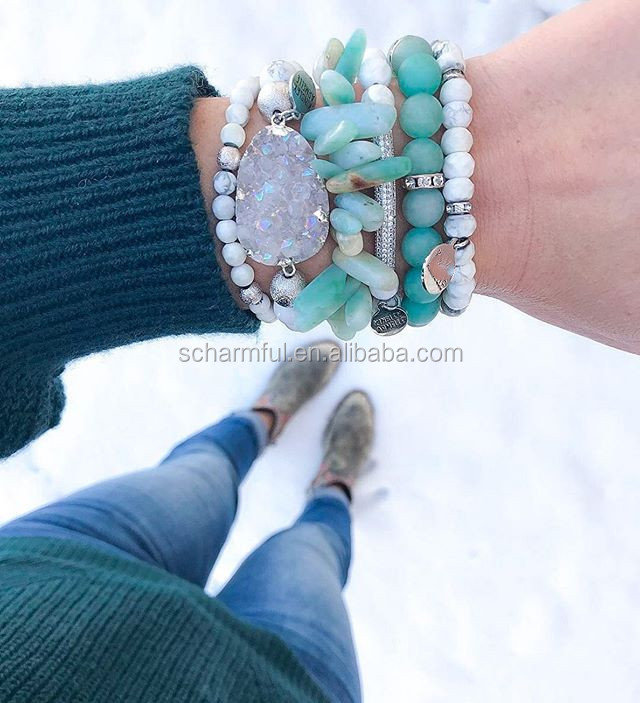 BS2020527 DRUZY Geode Connector Howlite Beads And Amazonite Stone clip Beaded Stack Stretch Bracelet