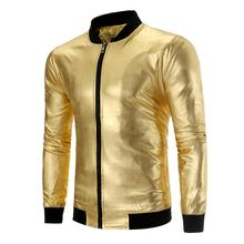 Mens Casual Goldene Slim Fit Full <span class=keywords><strong>Zip</strong></span> Metallic Shiny Bomber Nachtclub Jacke