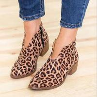 Deep V High Heel Lady Shoes Leopard Leather Boots Dress Party Winter Woman Ankle Boots