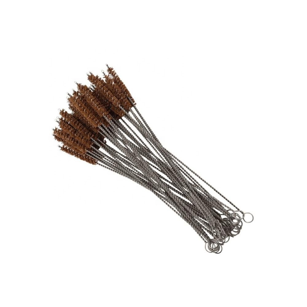 Reusable Stainless Steel Coconut Fibre Bristle Brush Straw Cleaning Brush