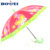 2020 kid girl baby butterfly and flower light weight cartoon New design poe material automatic print umbrella for kids
